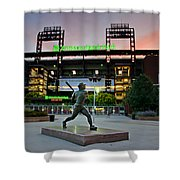 Mike Schmidt Statue At Dawn Shower Curtain