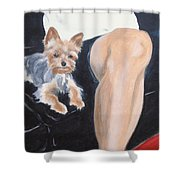 Mikedog With John's Knee Shower Curtain