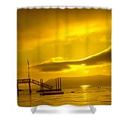 Mike's Beach Resort In The Morning  Shower Curtain