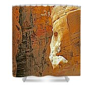Mile-long Canyon Leads Through 600 Foot Deep Gorge To The Treasury In Petra-jordan Shower Curtain