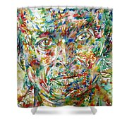Miles Davis Watercolor Portrait.1 Shower Curtain