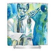 Miles Davis Watercolor Portrait.3 Shower Curtain