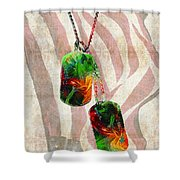 Military Art Dog Tags - Honor 2 - By Sharon Cummings Shower Curtain
