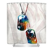 Military Art Dog Tags - Honor - By Sharon Cummings Shower Curtain