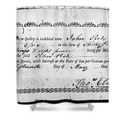 Military Due Bill, 1784 Shower Curtain