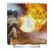 Military Flame Thrower Photo Art 01 Shower Curtain