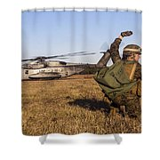 Military Policeman Signals To The Other Shower Curtain