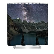 Milky Way Over Moraine Lake Shower Curtain