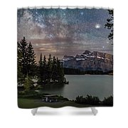 Milky Way Over Mt Rundle Shower Curtain