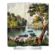 Mill Cove Lake Shower Curtain by Currier and Ives