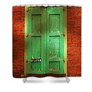 Mill Door In Dappled Sunlight Shower Curtain