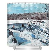Mill Pond In Winter Shower Curtain