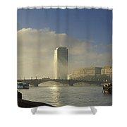 Millbank Tower During Fog, Lambeth Shower Curtain