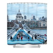Millenium Bridge And St Pauls Cathedral Shower Curtain