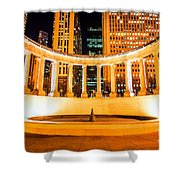 Millennium Monument Fountain In Chicago Shower Curtain by Paul Velgos