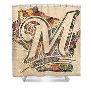Milwaukee Brewers Poster Art Shower Curtain