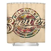 Milwaukee Brewers Poster Vintage Shower Curtain