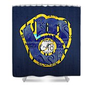 Milwaukee Brewers Vintage Baseball Team Logo Recycled Wisconsin License Plate Art Shower Curtain
