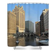 Milwaukee River Theater District 2 Shower Curtain