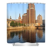 Milwaukee River Theater District 4 Shower Curtain