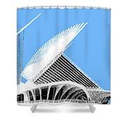Milwaukee Skyline Art Museum - Light Blue Shower Curtain
