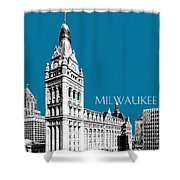 Milwaukee Skyline City Hall - Steel Shower Curtain