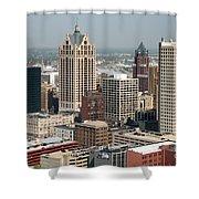 Milwaukee Wisconsin Skyline Aerial Shower Curtain