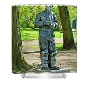 Mime In A Park In Tallinn-estonia Shower Curtain