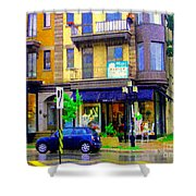 Mimi And Coco Clothing Boutique Laurier In The Rain  Plateau Montreal City Scenes Carole Spandau Art Shower Curtain