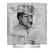 Miner's Lamp Patent Shower Curtain