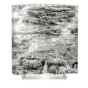 Minerva Springs In Black And White Yellowstone National Park Wyoming Shower Curtain