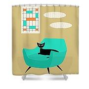 Mini Abstract With Aqua Chair Shower Curtain