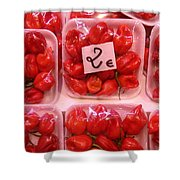 Mini Red Peppers Shower Curtain