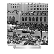Miniature La City Hall Parade Shower Curtain