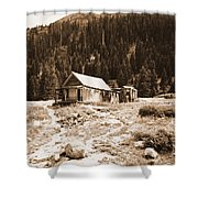 Mining House In Black And White Shower Curtain