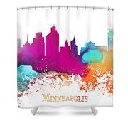 Minneapolis City Colored Skyline Shower Curtain