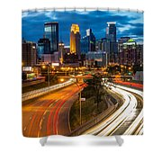 Minneapolis Light Trails Shower Curtain