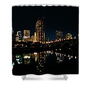 Minneapolis Night Skyline Shower Curtain