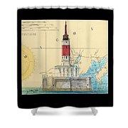 Minneapolis Shoals Lighthouse Mi Nautical Chart Map Art Shower Curtain
