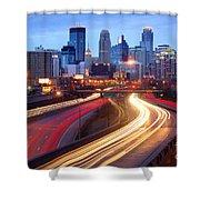 Minneapolis Skyline At Dusk Early Evening Shower Curtain