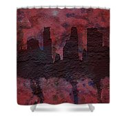 Minneapolis Skyline Brick Wall Mural Shower Curtain