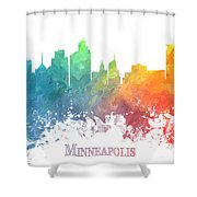 Minneapolis Skyline Colored Shower Curtain