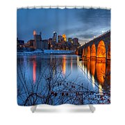 Minneapolis Skyline Images Stone Arch Bridge Spring Evening Shower Curtain