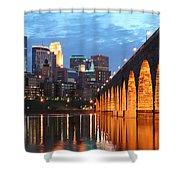 Minneapolis Skyline Photography Stone Arch Bridge Shower Curtain