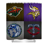 Minneapolis Sports Fan Recycled Vintage Minnesota License Plate Art Wild Vikings Timberwolves Twins Shower Curtain