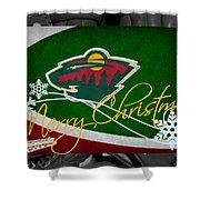 Minnesota Wild Christmas Shower Curtain