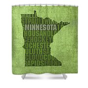 Minnesota Word Art State Map On Canvas Shower Curtain