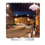 Miodowa Street In Warsaw At Night Shower Curtain