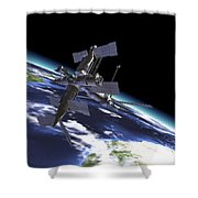 Mir Russian Space Station In Orbit Shower Curtain by Leonello Calvetti