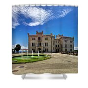 Miramare Castle With Fountain Shower Curtain